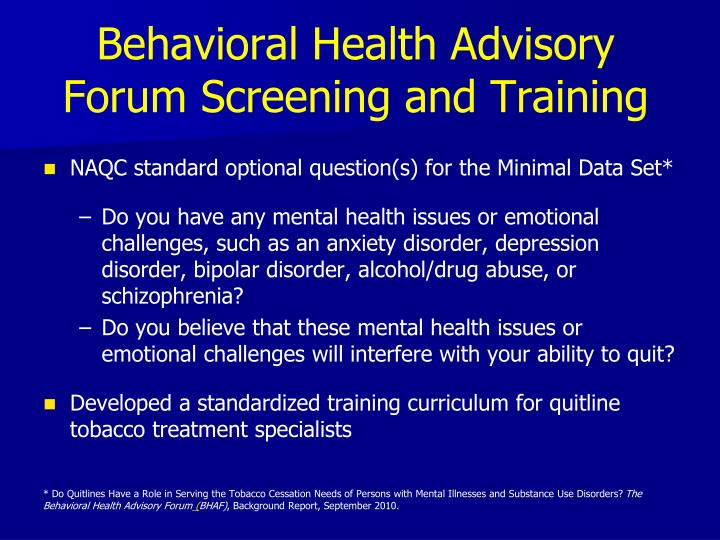 Behavioral Health Advisory