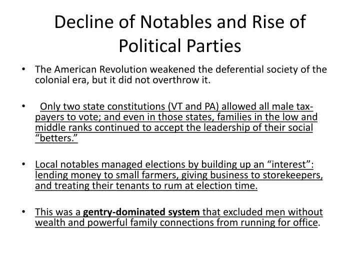 Decline of Notables and Rise of Political Parties