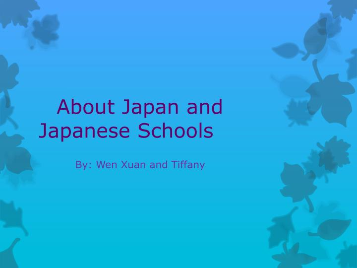 about japan and japanese schools n.
