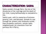 characterization sasha