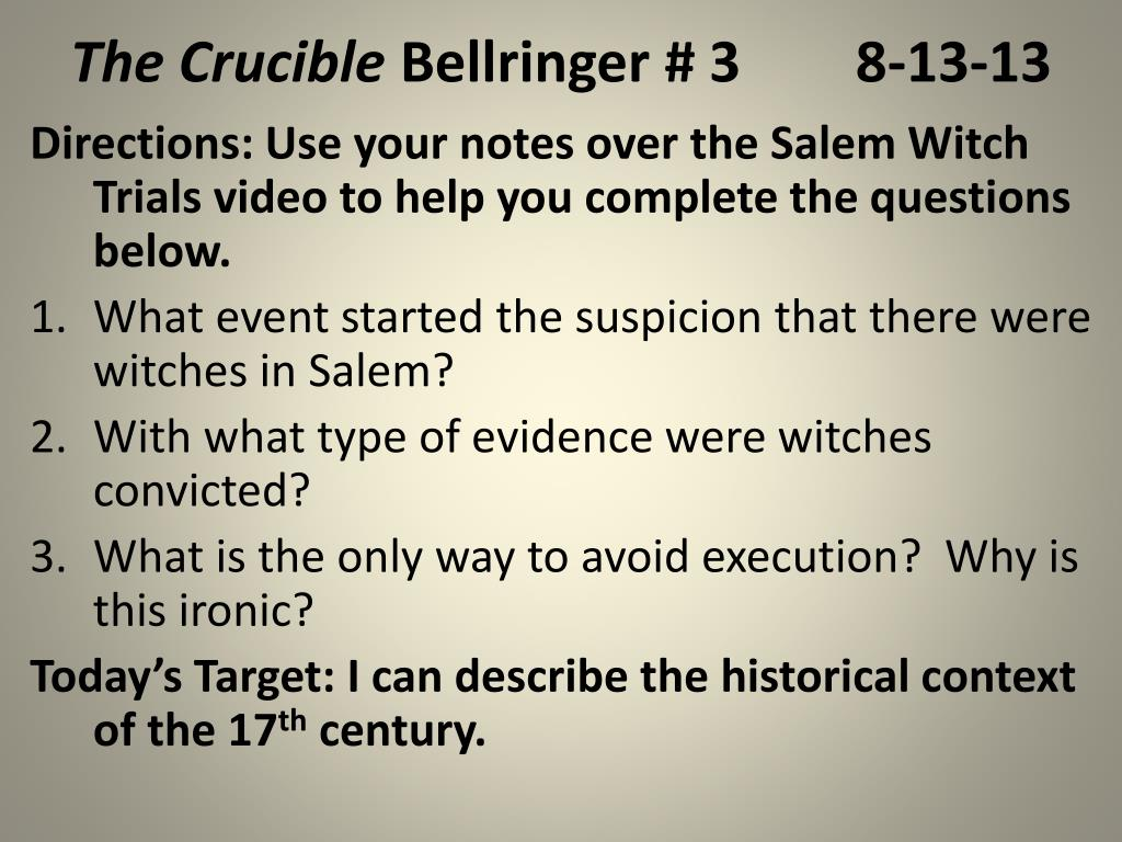 Salem Witch Trials Video Worksheet Answers