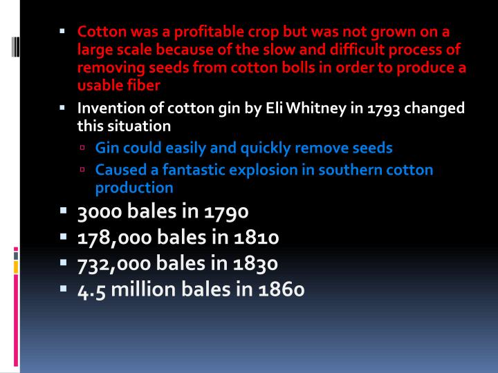Cotton was a profitable crop but was not grown on a large scale because of the slow and difficult pr...