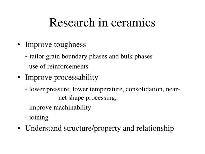 Research in ceramics