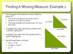 finding a missing measure example 1