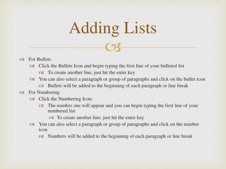 Adding Lists