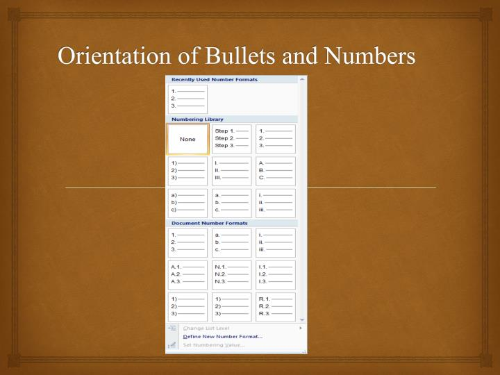 Orientation of Bullets