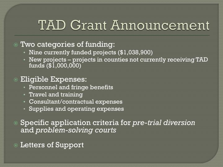 TAD Grant Announcement