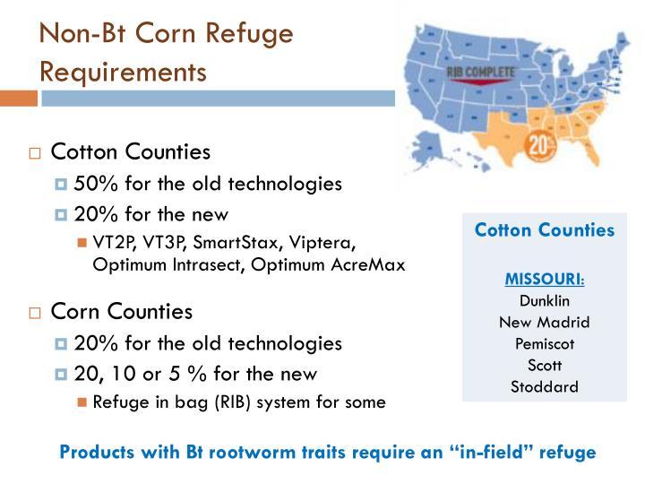 Non-Bt Corn Refuge Requirements