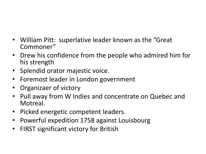 """William Pitt:  superlative leader known as the """"Great Commoner"""""""