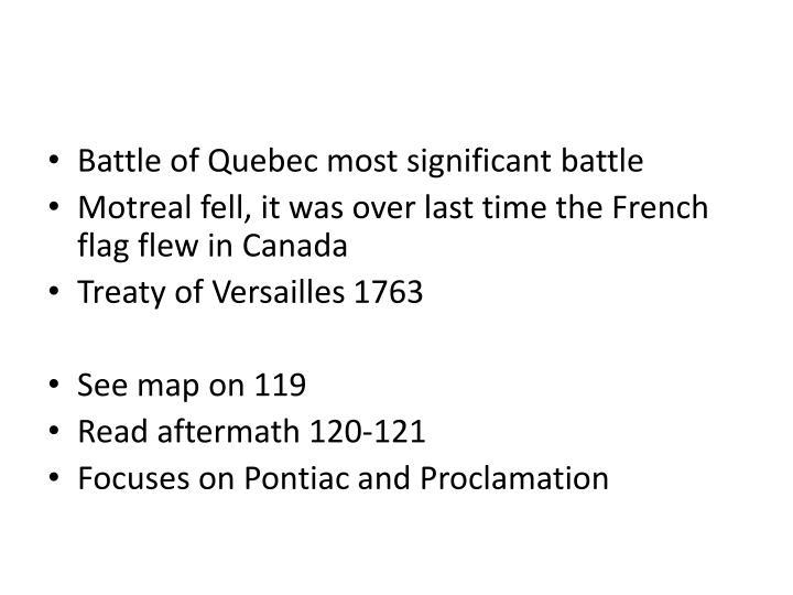 Battle of Quebec most significant battle
