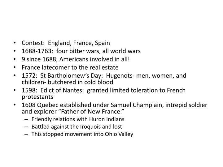Contest:  England, France, Spain