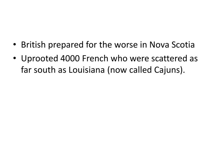 British prepared for the worse in Nova Scotia