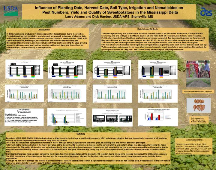 Influence of Planting Date, Harvest Date, Soil Type, Irrigation and Nematicides on