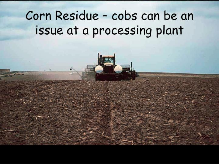 Corn Residue – cobs can be an issue at a processing plant
