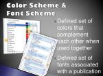 color scheme font scheme