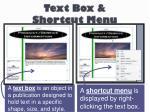 text box shortcut menu