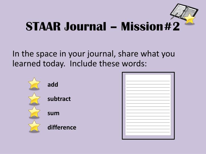 STAAR Journal – Mission#2