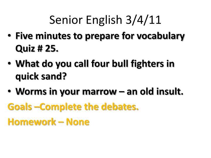 Senior English 3/4/11