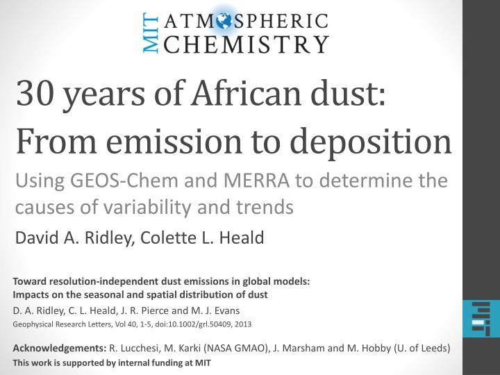 30 years of african dust from emission to deposition