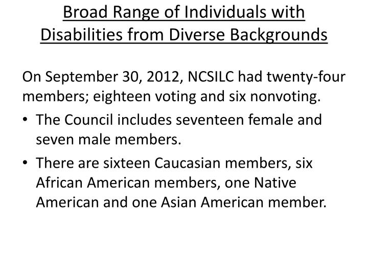 Broad Range of Individuals with Disabilities from Diverse Backgrounds