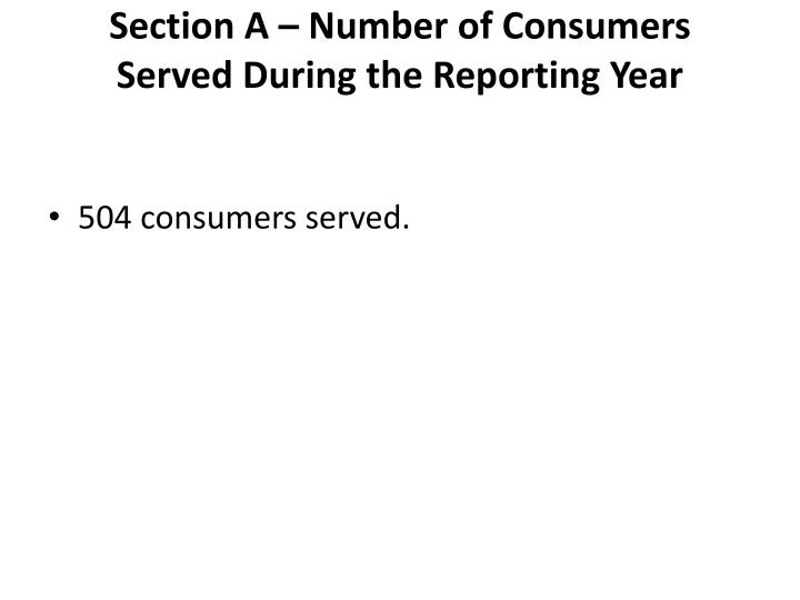 Section A – Number of Consumers Served During the Reporting Year