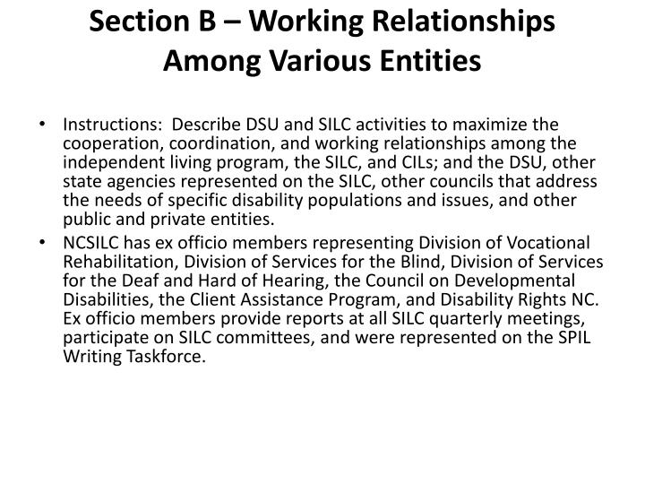 Section B – Working Relationships Among Various Entities