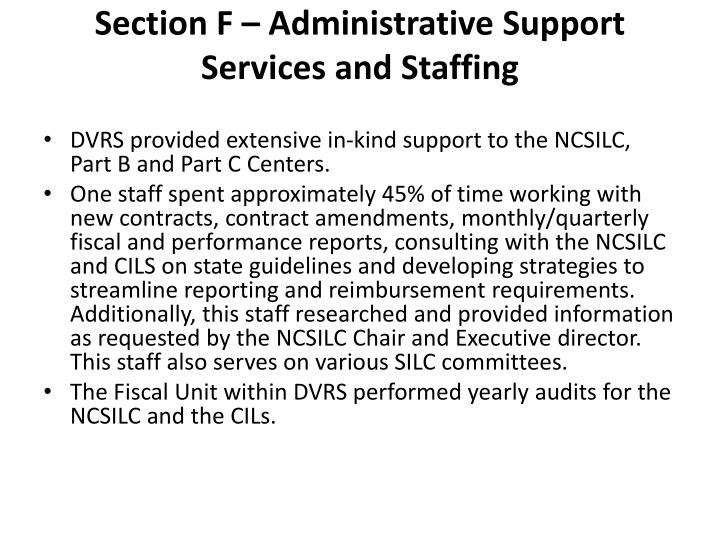 Section F – Administrative Support Services and Staffing