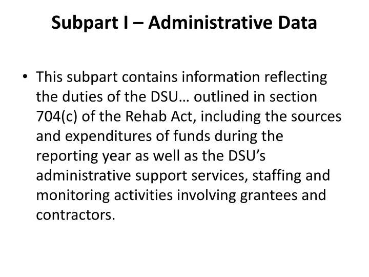 Subpart I – Administrative Data