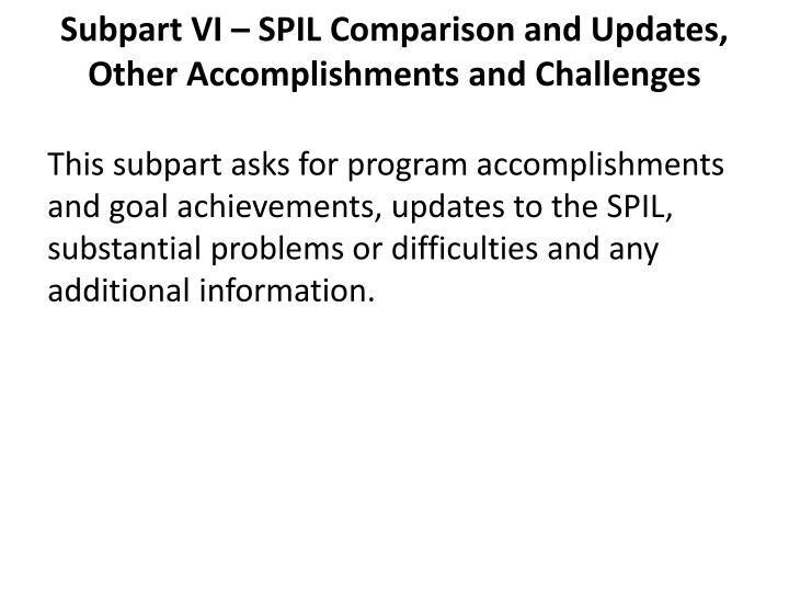 Subpart VI – SPIL Comparison and Updates, Other Accomplishments and Challenges