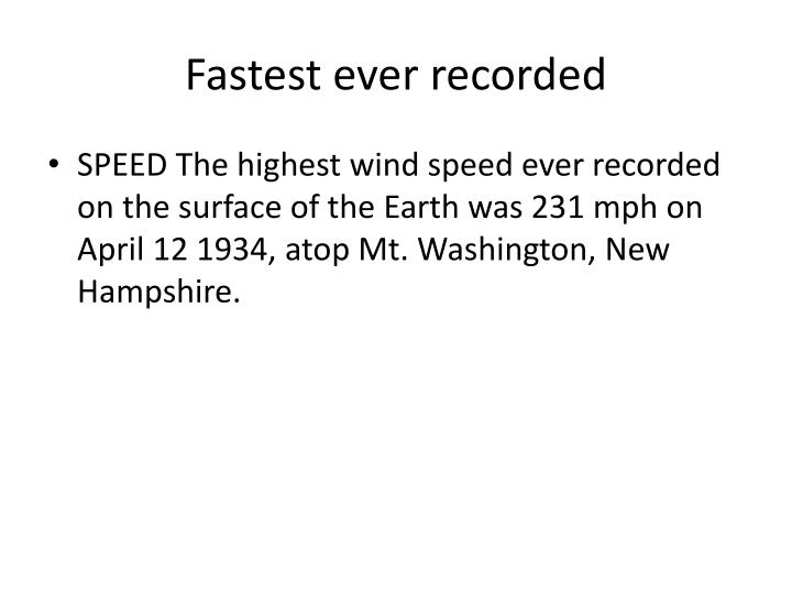 Fastest ever recorded