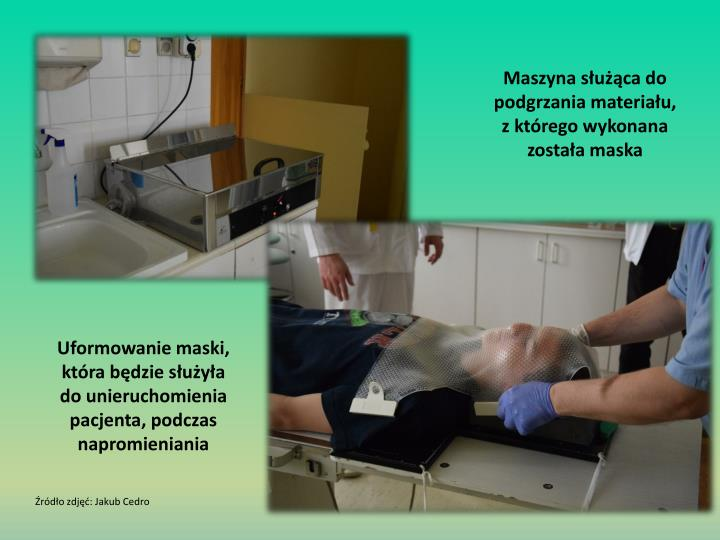 Maszyna służąca do podgrzania materiału, z którego wykonana została maska