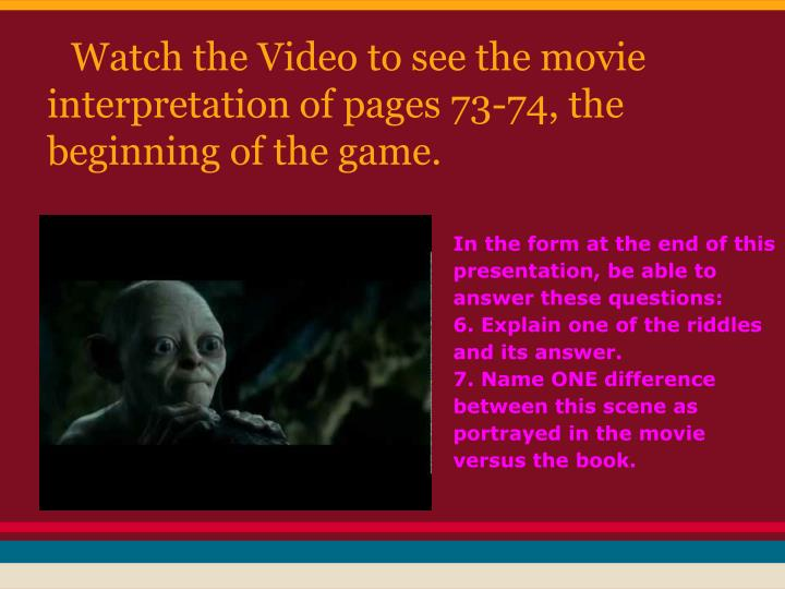 Watch the Video to see the movie interpretation of pages 73-74, the beginning of the game.