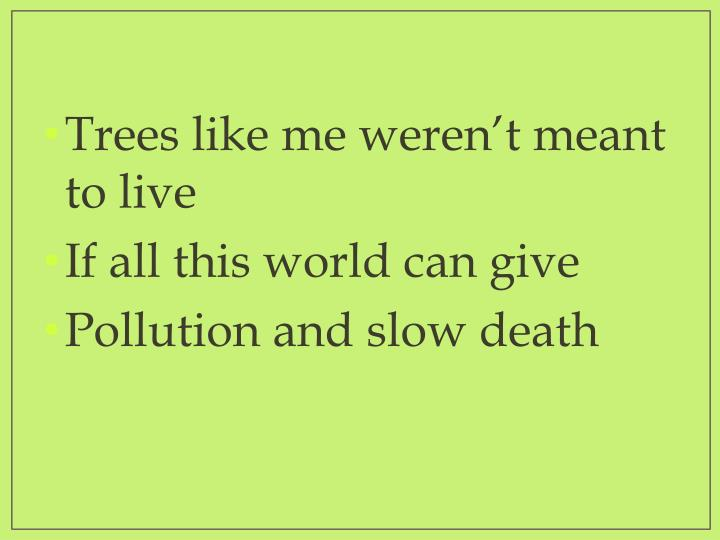 Trees like me weren't meant to live