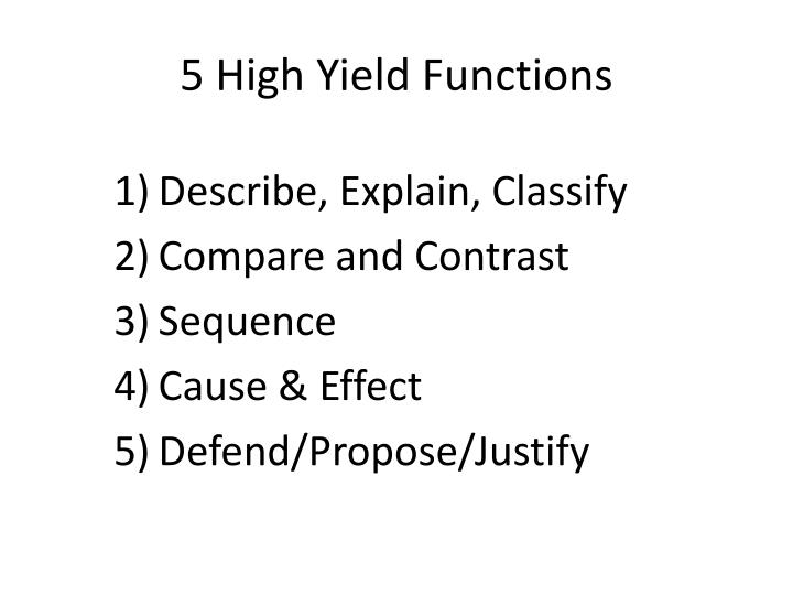 5 High Yield Functions