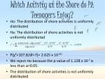 which activity at the shore do pa teenagers enjoy1