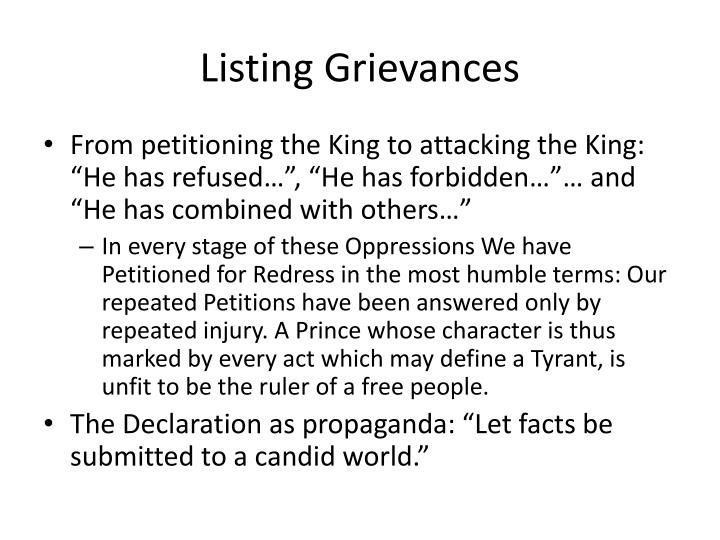 Listing Grievances
