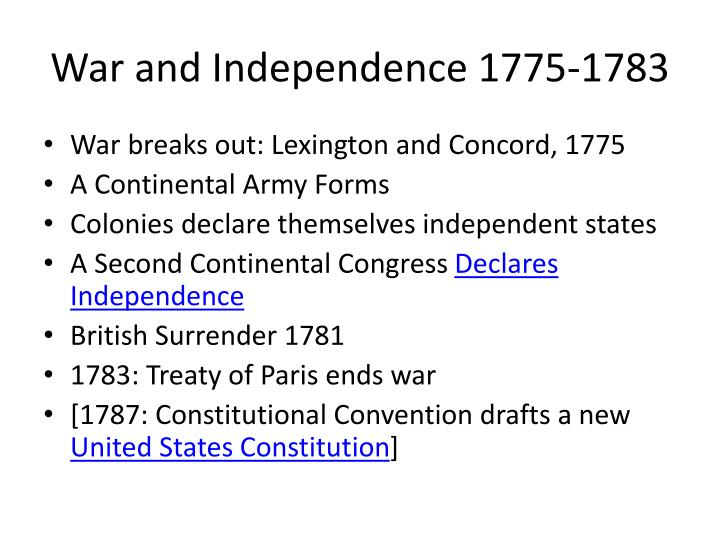 War and Independence 1775-1783