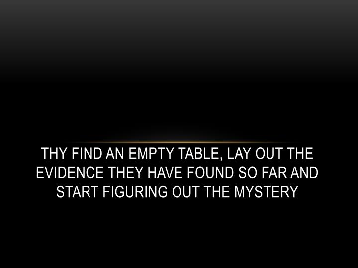 Thy find an empty table, lay out the evidence they have found so far and start figuring out the mystery