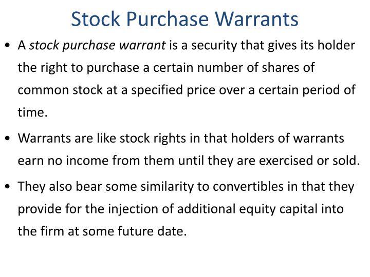 Stock Purchase Warrants