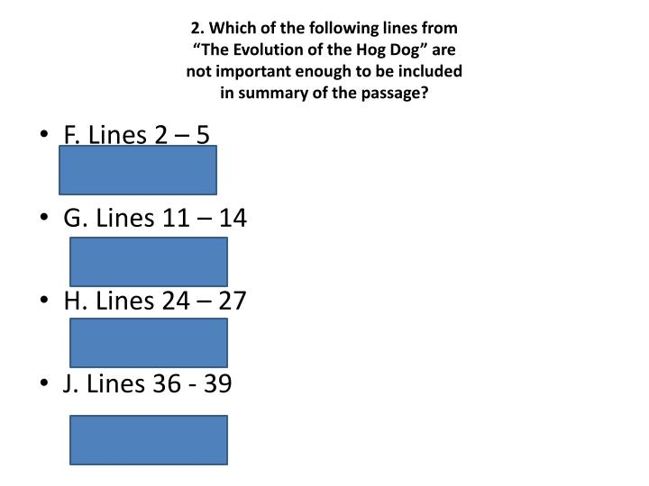2. Which of the following lines from