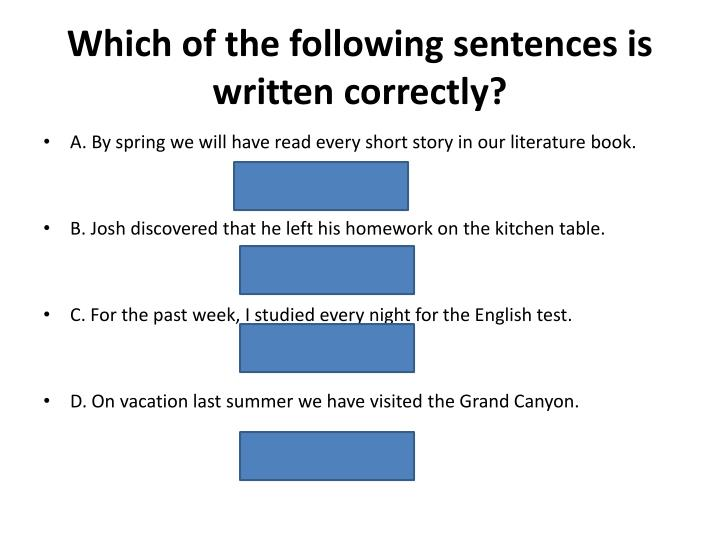Which of the following sentences is written correctly?