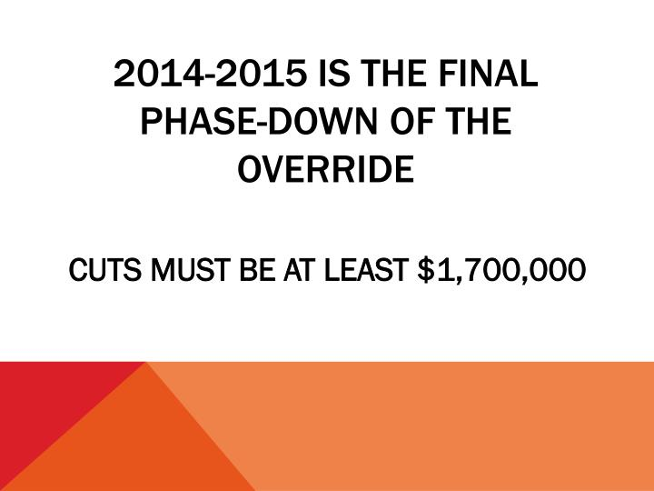 2014-2015 IS THE final PHASE-DOWN OF THE OVERRIDE
