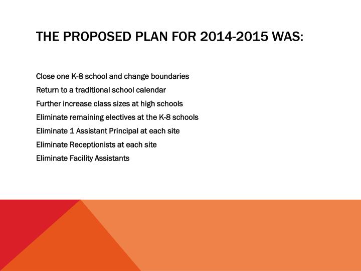 The proposed plan for 2014-2015 was: