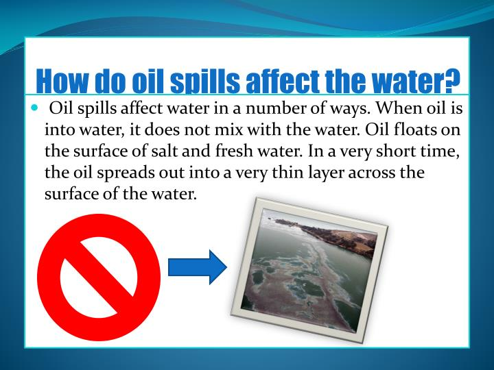How do oil spills affect the water