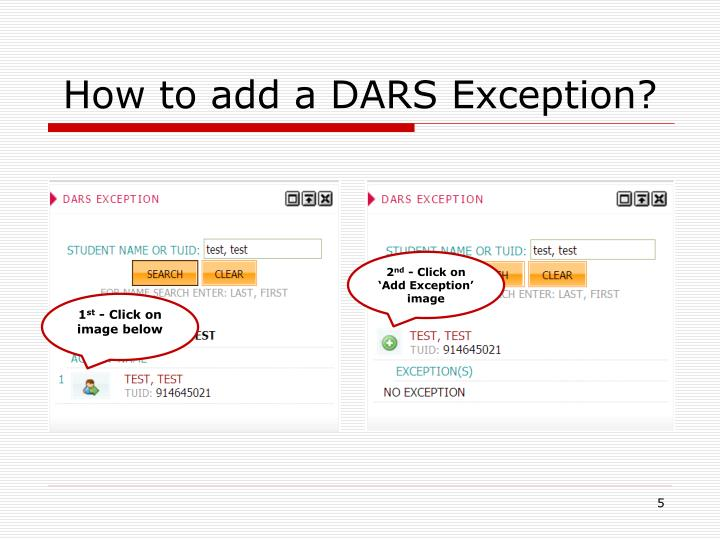 How to add a DARS Exception?