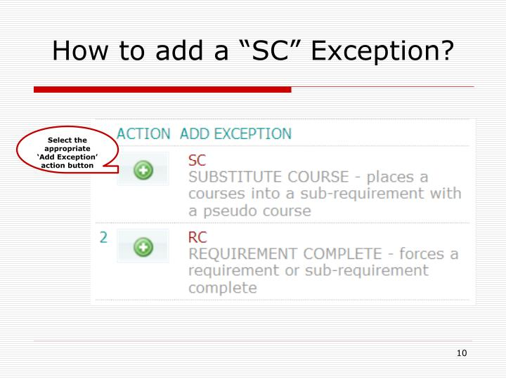 """How to add a """"SC"""" Exception?"""