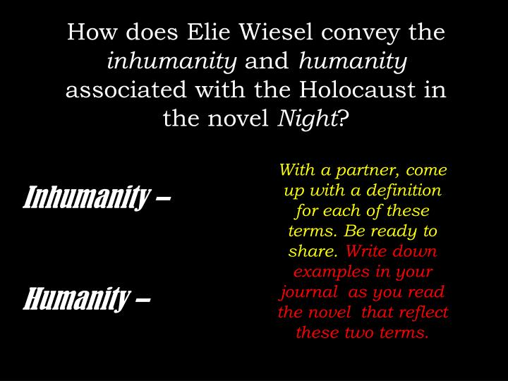 elie wiesels novel night a young jewish boys experience during the holocaust Night is a work by elie wiesel, published in english in 1960 the book is about his experience with his father in the nazi german concentration camps at auschwitz and buchenwald in 1944-1945, at the height of the holocaust toward the end of the second world war.