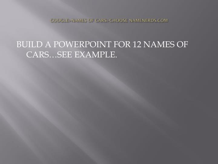 Google names of cars choose namenerds com