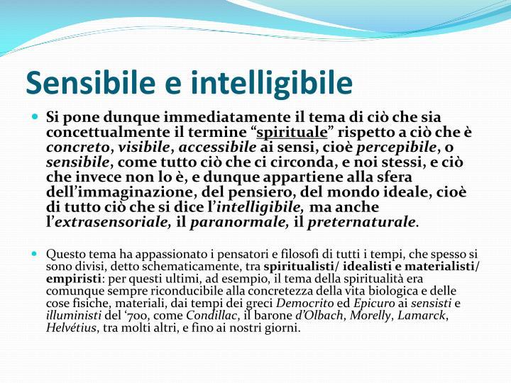Sensibile e intelligibile