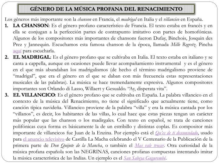 GÉNERO DE LA MÚSICA PROFANA DEL RENACIMIENTO